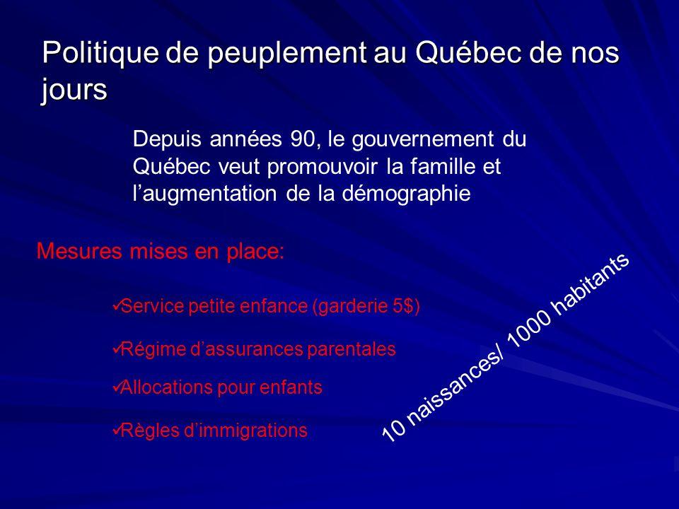 Politique de peuplement au Québec de nos jours Depuis années 90, le gouvernement du Québec veut promouvoir la famille et laugmentation de la démograph