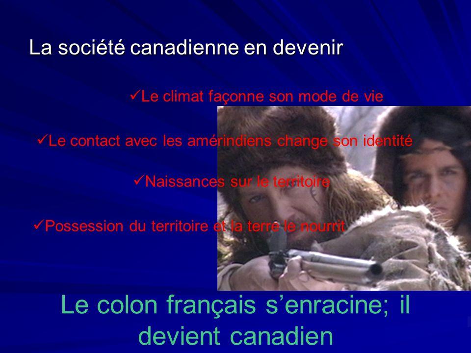 La société canadienne en devenir Le colon français senracine; il devient canadien Le climat façonne son mode de vie Le contact avec les amérindiens ch