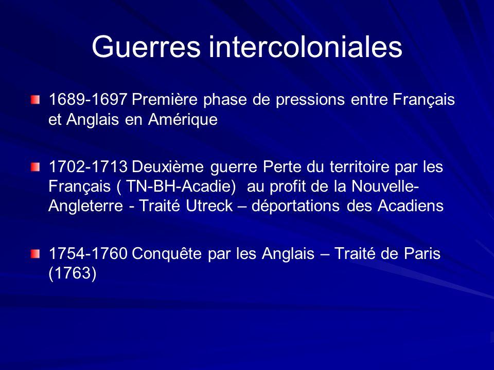 Guerres intercoloniales 1689-1697 Première phase de pressions entre Français et Anglais en Amérique 1702-1713 Deuxième guerre Perte du territoire par