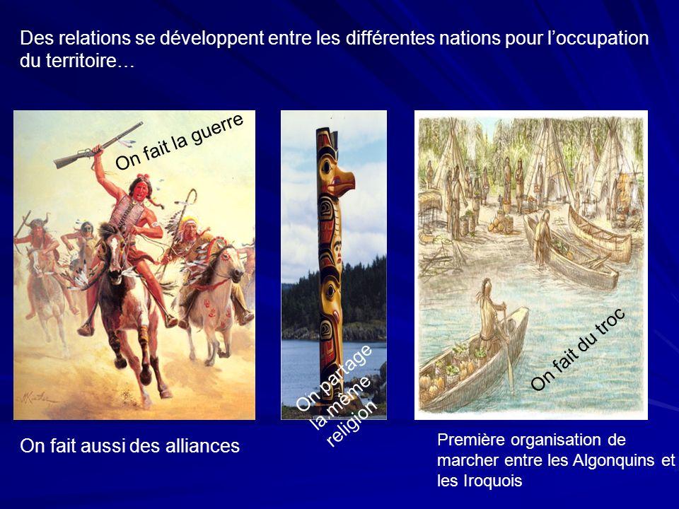 Première organisation de marcher entre les Algonquins et les Iroquois On fait du troc Des relations se développent entre les différentes nations pour