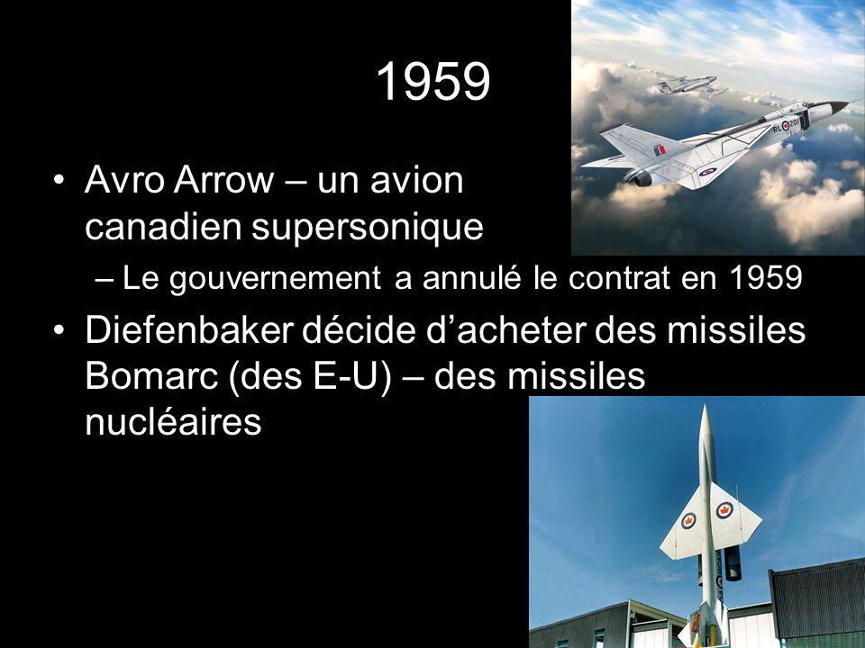 1959 Avro Arrow – un avion canadien supersonique –Le gouvernement a annulé le contrat en 1959 Diefenbaker décide dacheter des missiles Bomarc (des E-U) – des missiles nucléaires