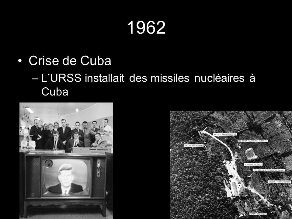 1962 Crise de Cuba –LURSS installait des missiles nucléaires à Cuba