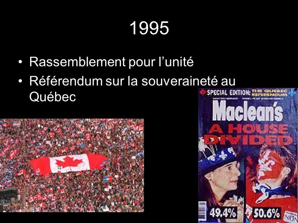 1995 Rassemblement pour lunité Référendum sur la souveraineté au Québec