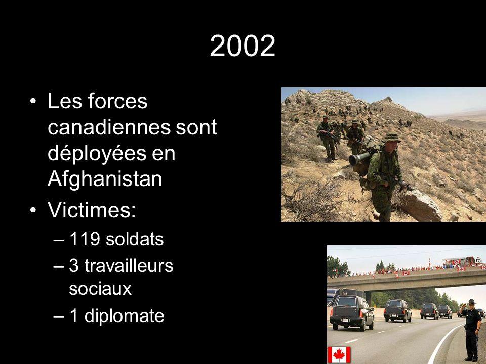 2002 Les forces canadiennes sont déployées en Afghanistan Victimes: –119 soldats –3 travailleurs sociaux –1 diplomate