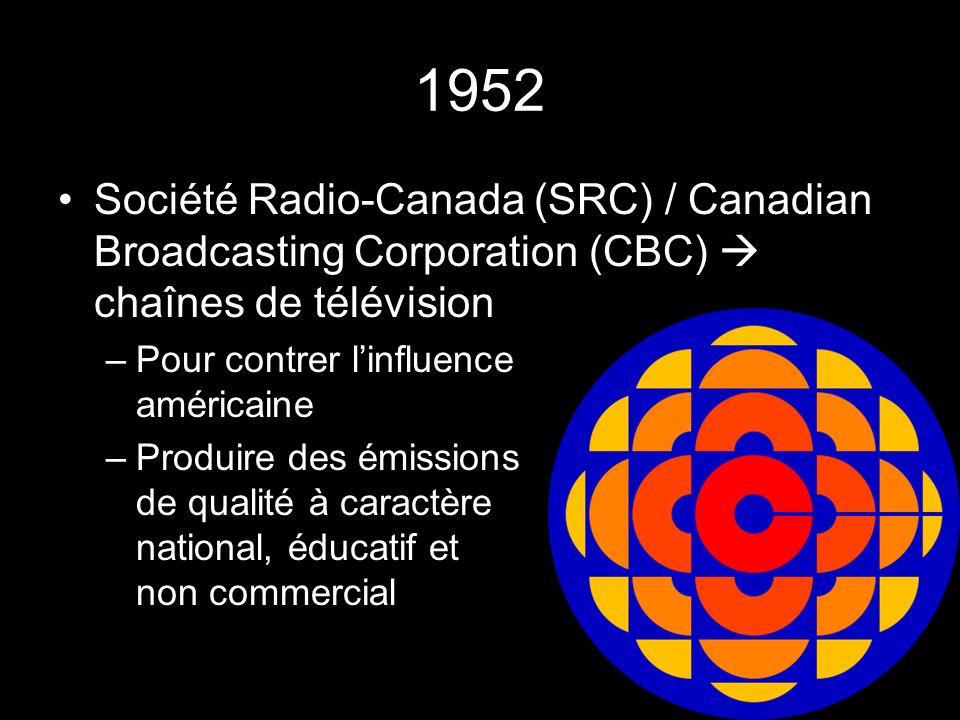 1952 Société Radio-Canada (SRC) / Canadian Broadcasting Corporation (CBC) chaînes de télévision –Pour contrer linfluence américaine –Produire des émissions de qualité à caractère national, éducatif et non commercial