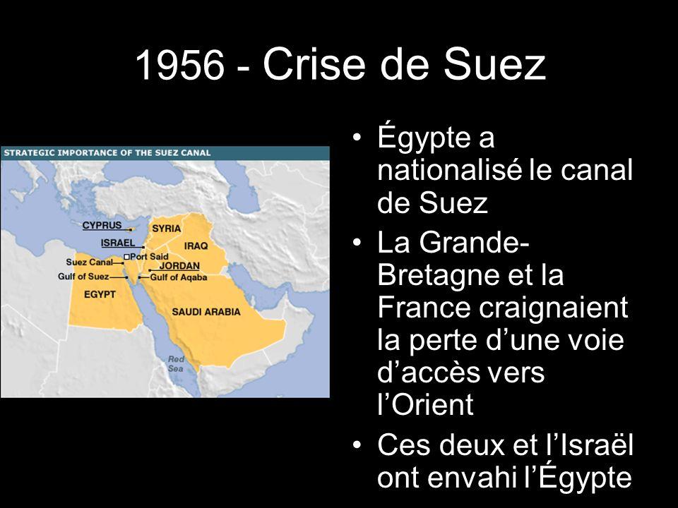 1956 - Crise de Suez Égypte a nationalisé le canal de Suez La Grande- Bretagne et la France craignaient la perte dune voie daccès vers lOrient Ces deux et lIsraël ont envahi lÉgypte