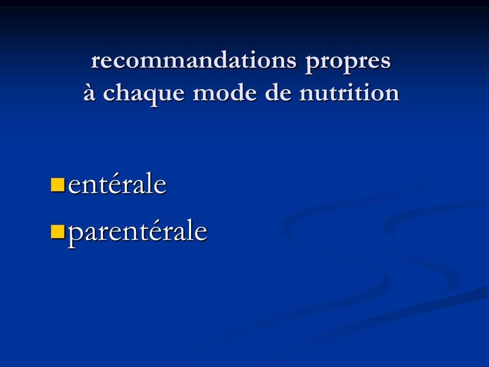 recommandations propres à chaque mode de nutrition entérale entérale parentérale parentérale