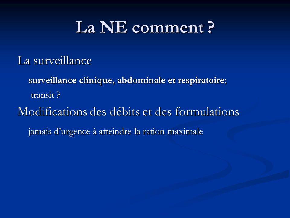 La NE comment .La surveillance surveillance clinique, abdominale et respiratoire; transit .