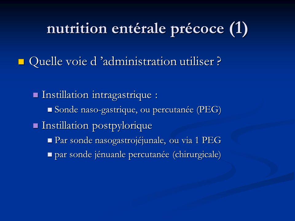 nutrition entérale précoce (1) Quelle voie d administration utiliser .