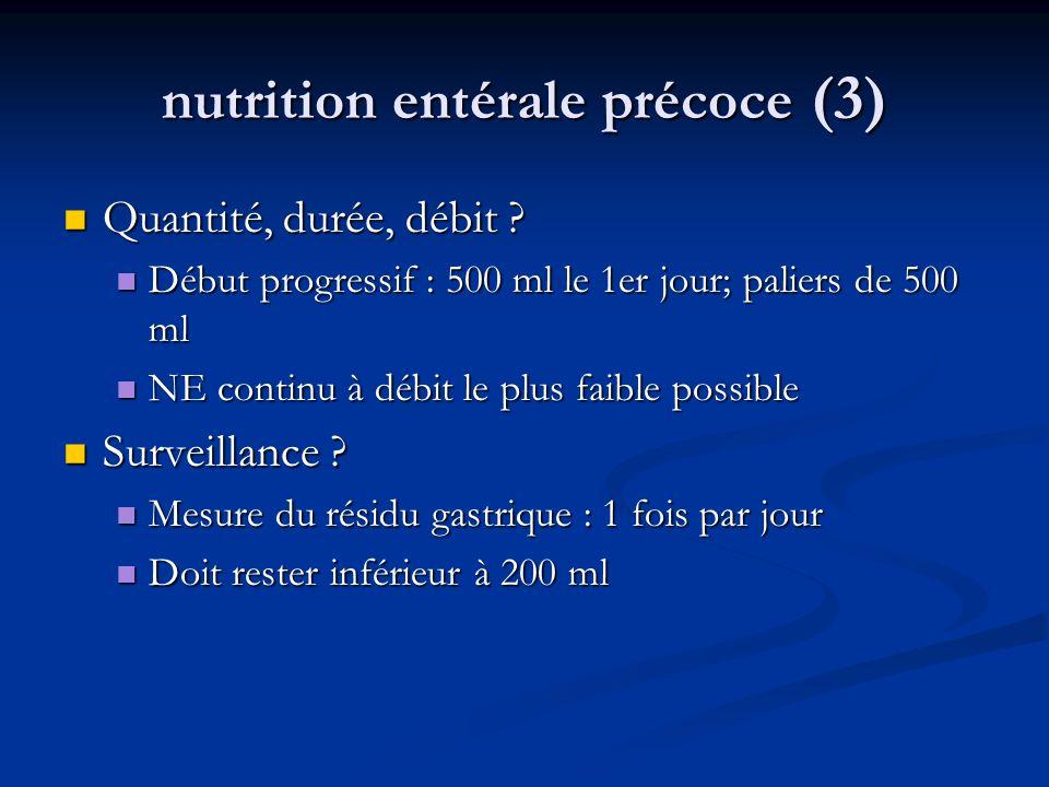nutrition entérale précoce (3) Quantité, durée, débit .