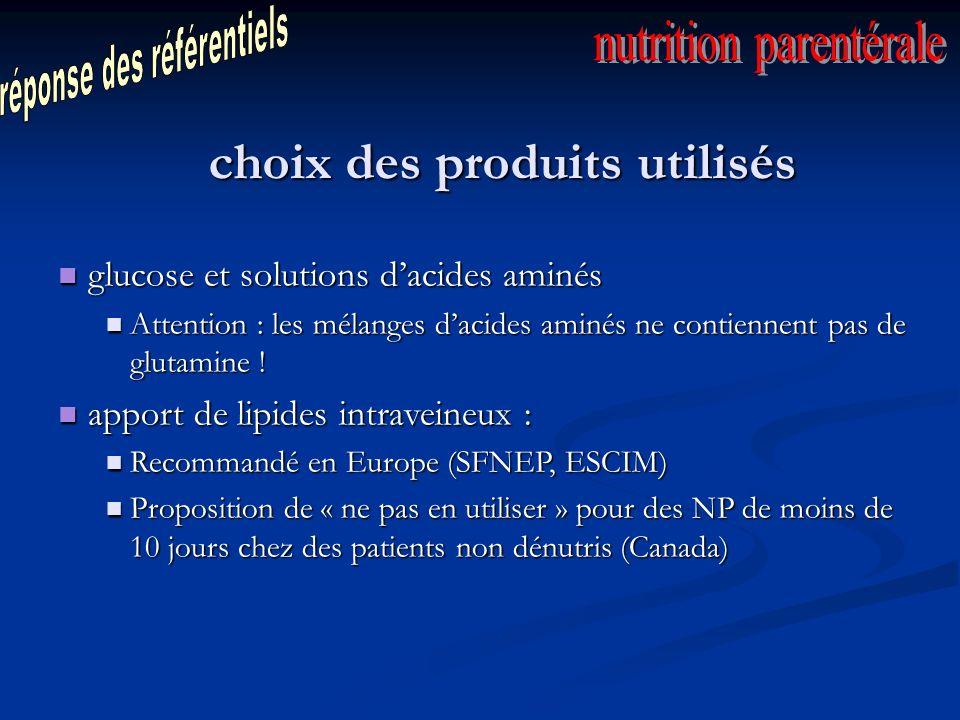 choix des produits utilisés glucose et solutions dacides aminés glucose et solutions dacides aminés Attention : les mélanges dacides aminés ne contiennent pas de glutamine .
