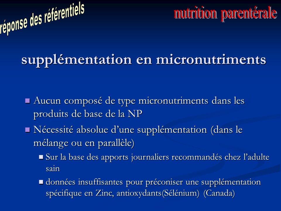 supplémentation en micronutriments Aucun composé de type micronutriments dans les produits de base de la NP Aucun composé de type micronutriments dans les produits de base de la NP Nécessité absolue dune supplémentation (dans le mélange ou en parallèle) Nécessité absolue dune supplémentation (dans le mélange ou en parallèle) Sur la base des apports journaliers recommandés chez ladulte sain Sur la base des apports journaliers recommandés chez ladulte sain données insuffisantes pour préconiser une supplémentation spécifique en Zinc, antioxydants(Sélénium) (Canada) données insuffisantes pour préconiser une supplémentation spécifique en Zinc, antioxydants(Sélénium) (Canada)