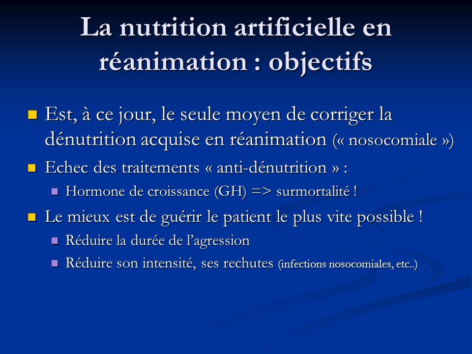 La nutrition artificielle en réanimation : objectifs Est, à ce jour, le seule moyen de corriger la dénutrition acquise en réanimation (« nosocomiale ») Est, à ce jour, le seule moyen de corriger la dénutrition acquise en réanimation (« nosocomiale ») Echec des traitements « anti-dénutrition » : Echec des traitements « anti-dénutrition » : Hormone de croissance (GH) => surmortalité .