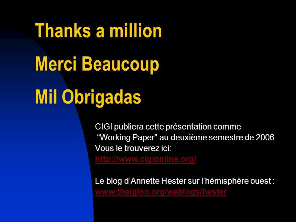 Thanks a million Merci Beaucoup Mil Obrigadas CIGI publiera cette présentation comme Working Paper au deuxième semestre de 2006. Vous le trouverez ici