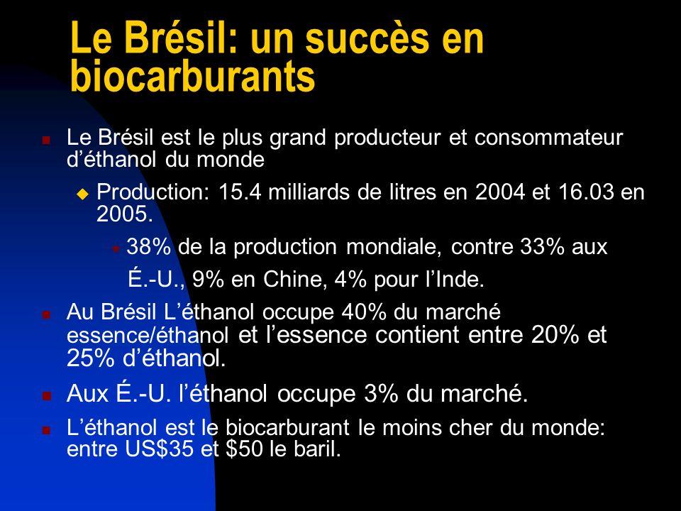 Le Brésil: un succès en biocarburants Depuis 2003 les véhicules Flex-Fuel annoncent une ère nouvelle.