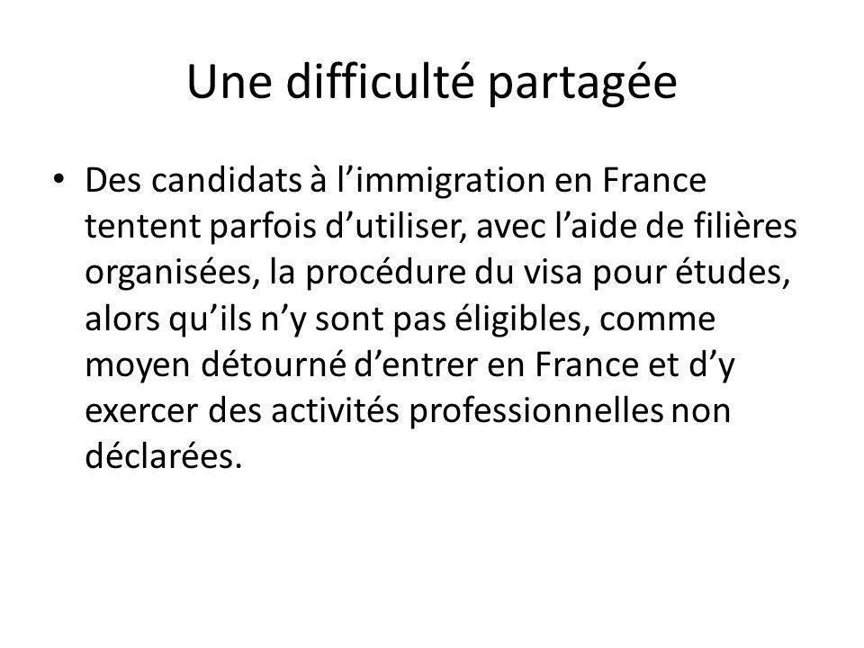 Une difficulté partagée Des candidats à limmigration en France tentent parfois dutiliser, avec laide de filières organisées, la procédure du visa pour