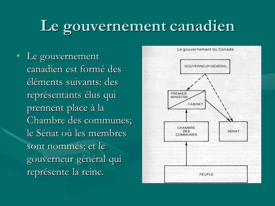 Le gouvernement canadien Le gouvernement canadien est formé des éléments suivants: des représentants élus qui prennent place à la Chambre des communes