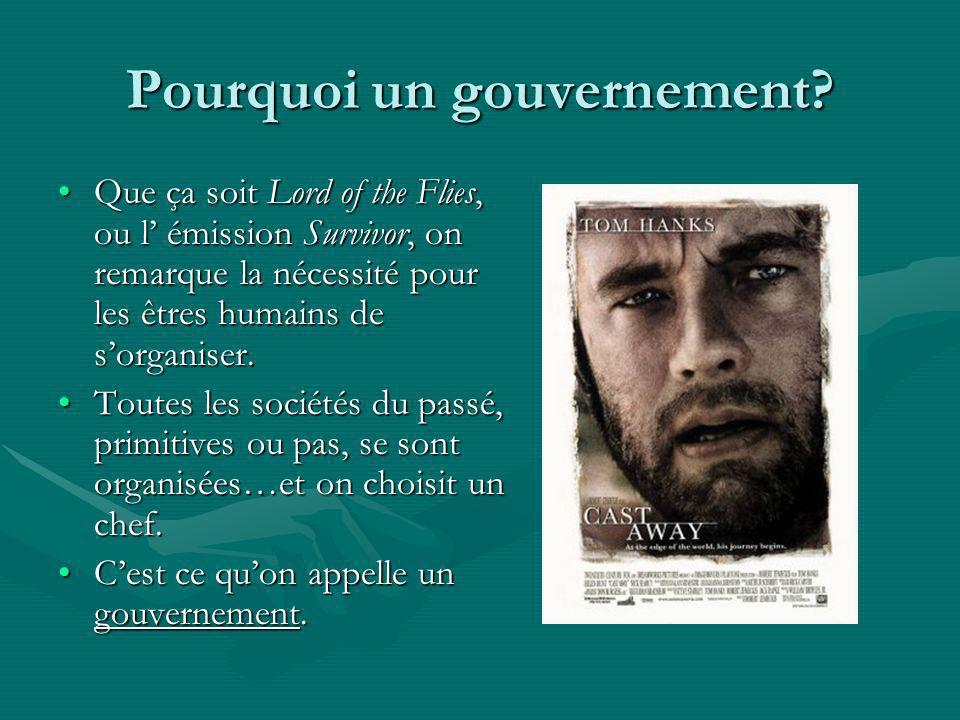 Pourquoi un gouvernement? Que ça soit Lord of the Flies, ou l émission Survivor, on remarque la nécessité pour les êtres humains de sorganiser.Que ça