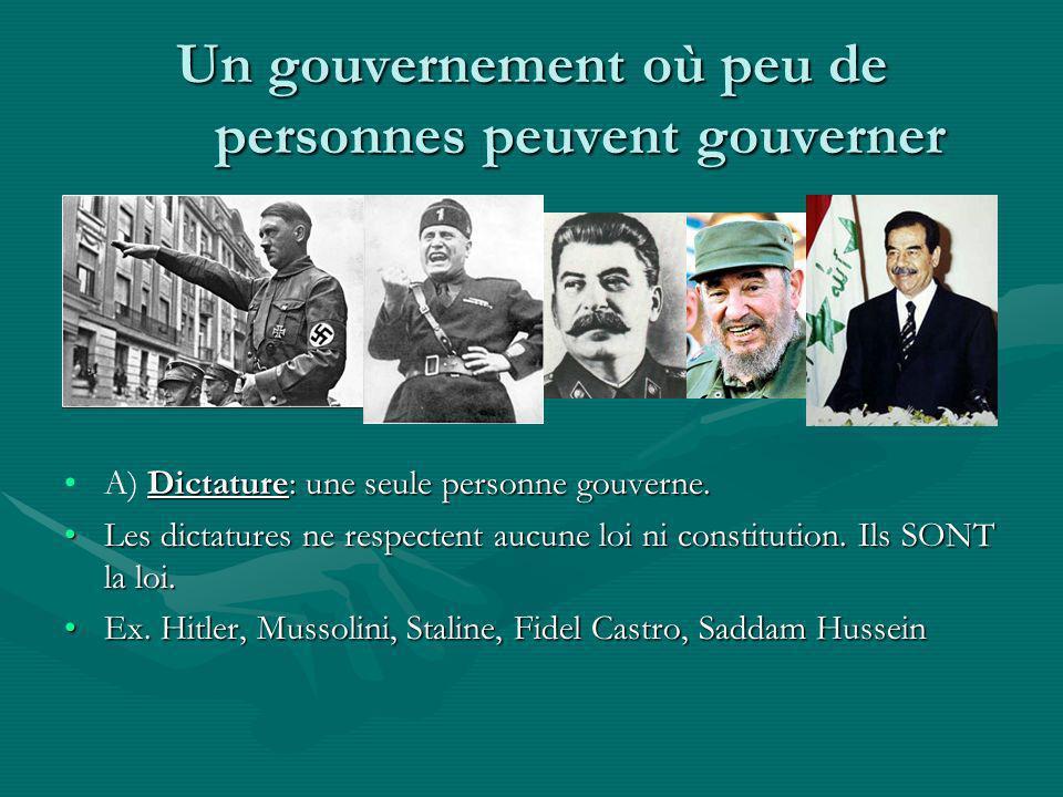 Un gouvernement où peu de personnes peuvent gouverner A) Dictature: une seule personne gouverne. Les dictatures ne respectent aucune loi ni constituti