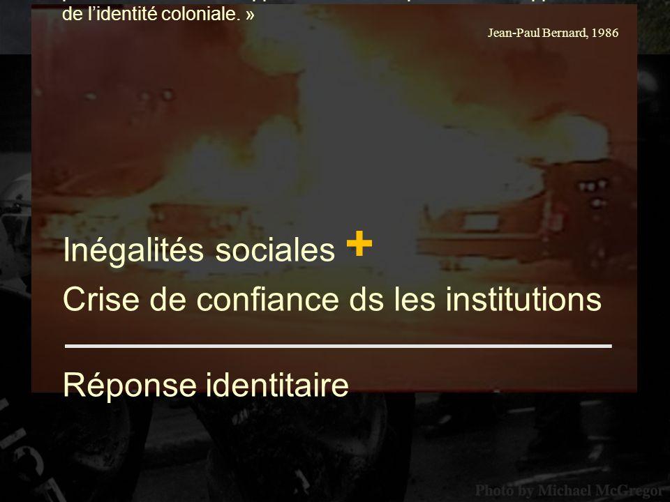 « Les Rébellions dans la colonie du Bas-Canada apparaissent ainsi comme une crise sociale généralisée, qui concerne à la fois le développement des institutions politiques, les orientations et les profits à tirer du développement économique et le développement de lidentité coloniale.