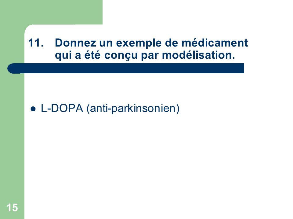 15 11.Donnez un exemple de médicament qui a été conçu par modélisation. L-DOPA (anti-parkinsonien)