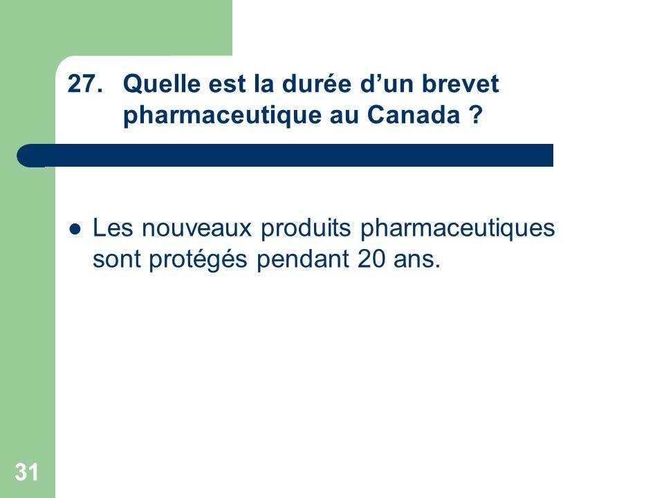 31 27.Quelle est la durée dun brevet pharmaceutique au Canada ? Les nouveaux produits pharmaceutiques sont protégés pendant 20 ans.