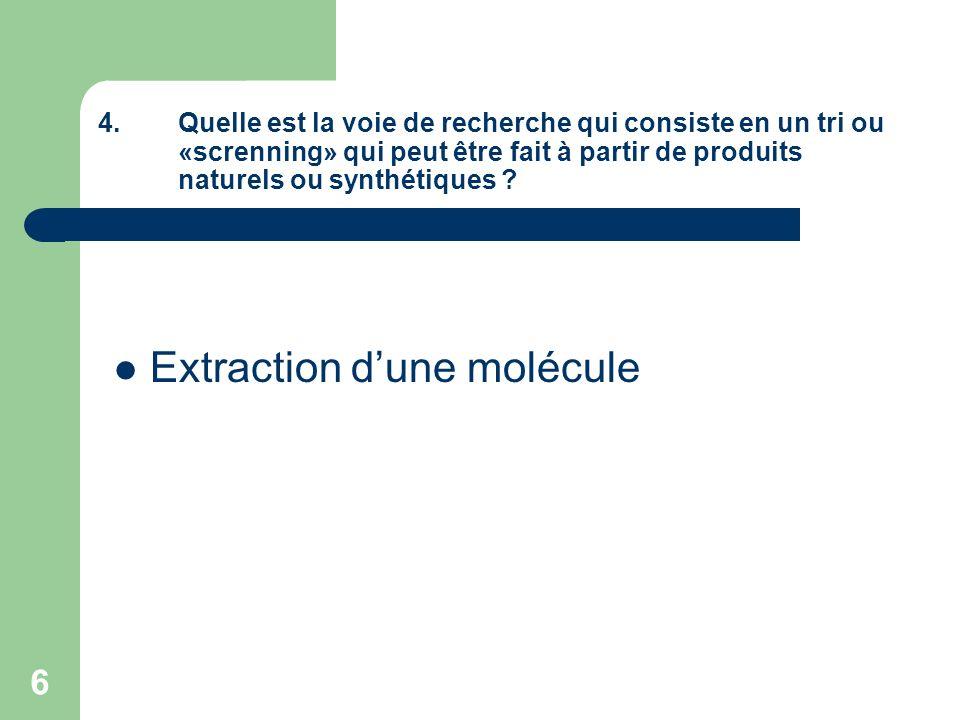 6 4.Quelle est la voie de recherche qui consiste en un tri ou «screnning» qui peut être fait à partir de produits naturels ou synthétiques ? Extractio