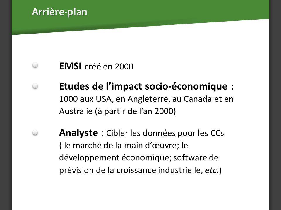 EMSI créé en 2000 Etudes de limpact socio-économique : 1000 aux USA, en Angleterre, au Canada et en Australie (à partir de lan 2000) Analyste : Cibler les données pour les CCs ( le marché de la main dœuvre; le développement économique; software de prévision de la croissance industrielle, etc.)