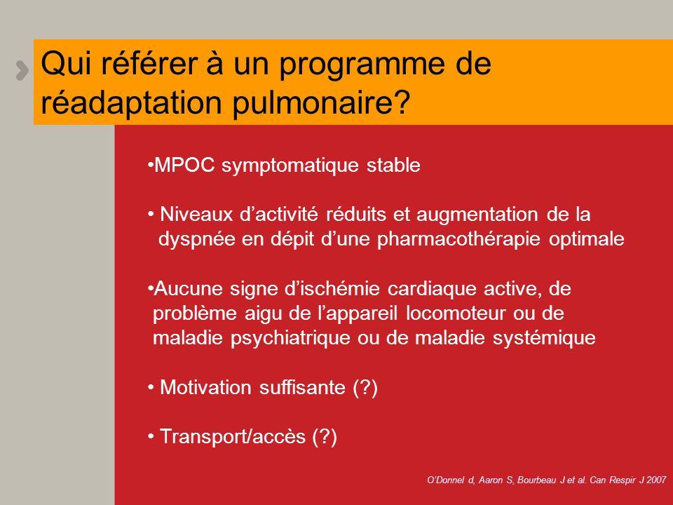 MPOC symptomatique stable Niveaux dactivité réduits et augmentation de la dyspnée en dépit dune pharmacothérapie optimale Aucune signe dischémie cardi