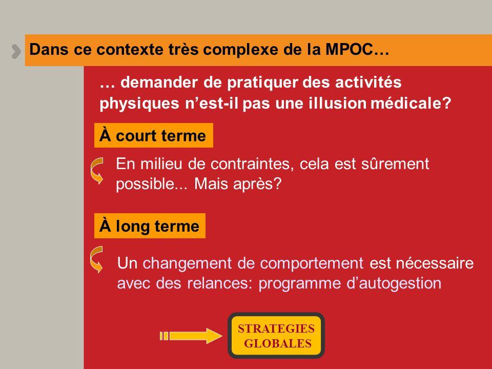 Dans ce contexte très complexe de la MPOC… En milieu de contraintes, cela est sûrement possible... Mais après? À court terme Un changement de comporte