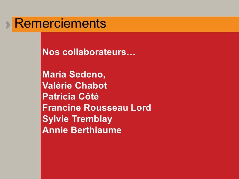 Remerciements Nos collaborateurs… Maria Sedeno, Valérie Chabot Patricia Côté Francine Rousseau Lord Sylvie Tremblay Annie Berthiaume
