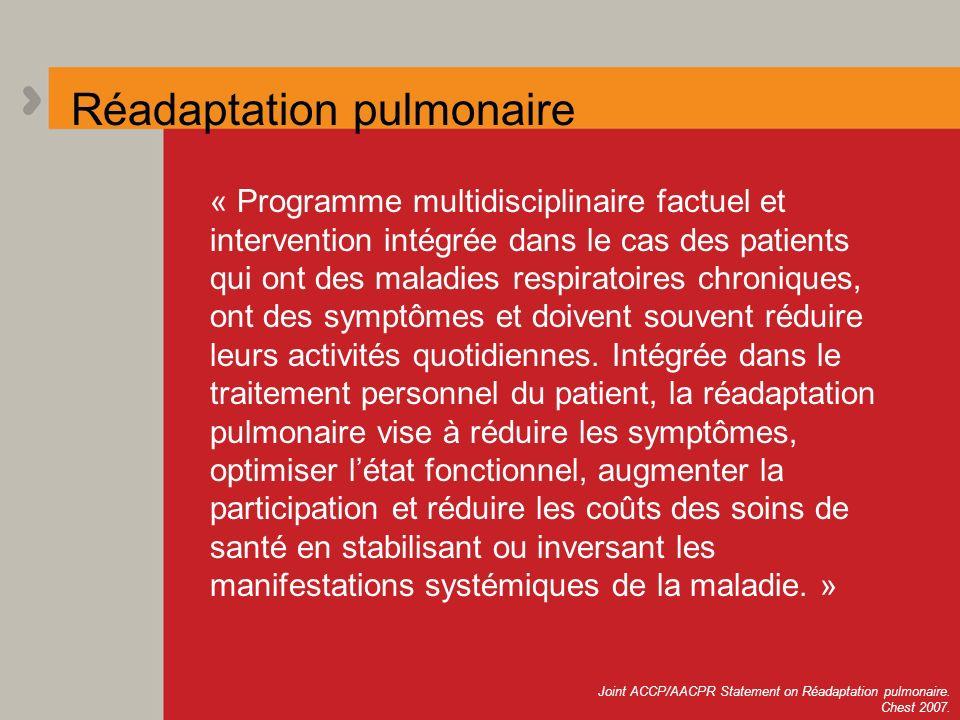 Réadaptation pulmonaire « Programme multidisciplinaire factuel et intervention intégrée dans le cas des patients qui ont des maladies respiratoires ch