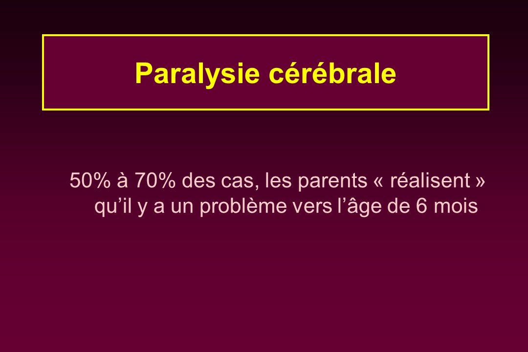 50% à 70% des cas, les parents « réalisent » quil y a un problème vers lâge de 6 mois Paralysie cérébrale