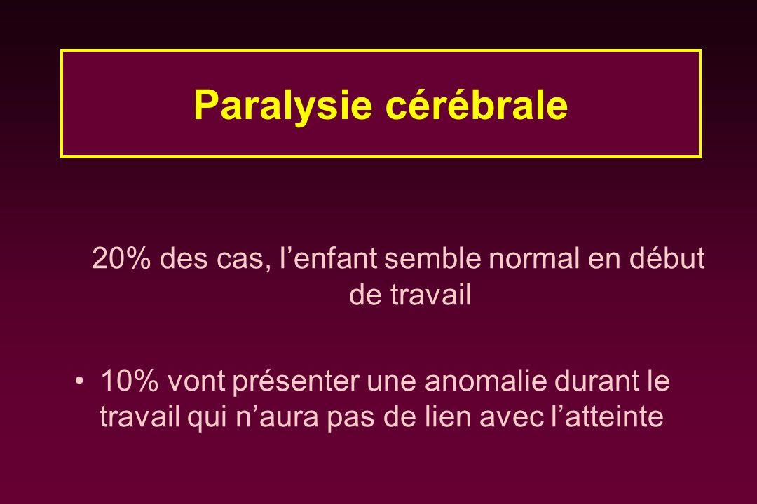 20% des cas, lenfant semble normal en début de travail 10% vont présenter une anomalie durant le travail qui naura pas de lien avec latteinte Paralysi