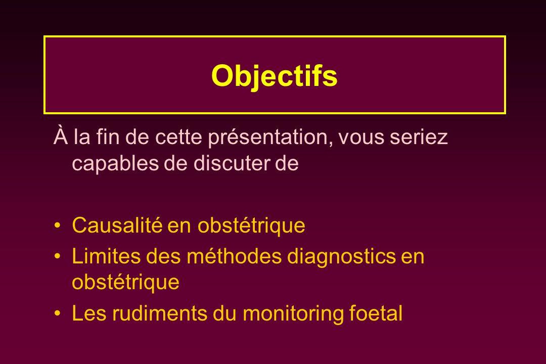 À la fin de cette présentation, vous seriez capables de discuter de Causalité en obstétrique Limites des méthodes diagnostics en obstétrique Les rudim