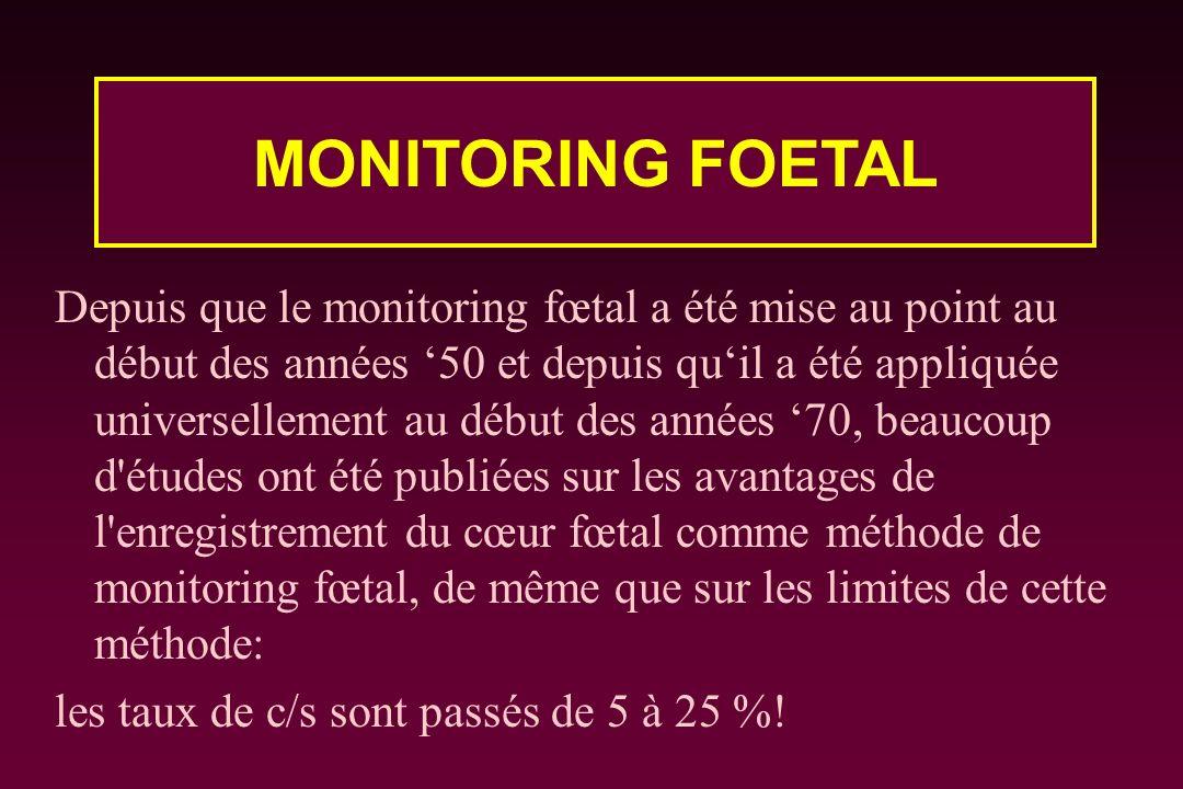 Depuis que le monitoring fœtal a été mise au point au début des années 50 et depuis quil a été appliquée universellement au début des années 70, beauc