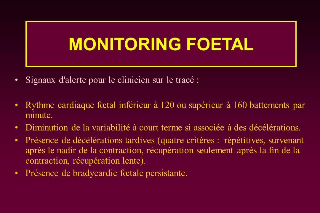 Signaux d'alerte pour le clinicien sur le tracé : Rythme cardiaque fœtal inférieur à 120 ou supérieur à 160 battements par minute. Diminution de la va