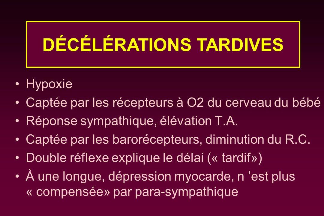 Hypoxie Captée par les récepteurs à O2 du cerveau du bébé Réponse sympathique, élévation T.A. Captée par les barorécepteurs, diminution du R.C. Double