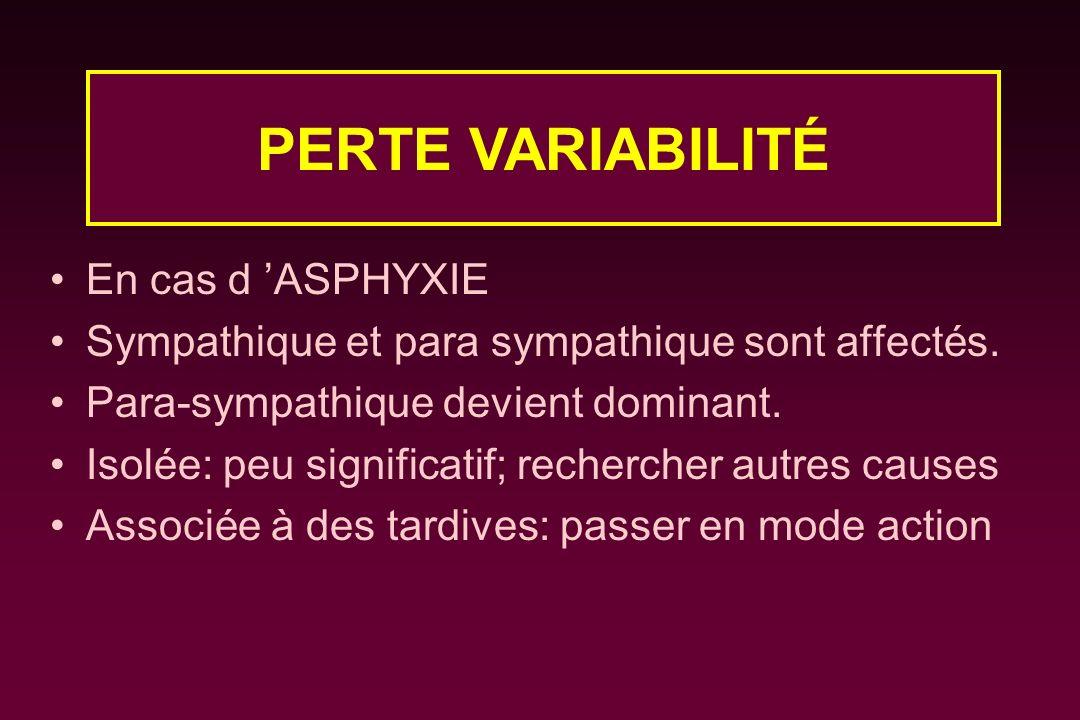 En cas d ASPHYXIE Sympathique et para sympathique sont affectés. Para-sympathique devient dominant. Isolée: peu significatif; rechercher autres causes