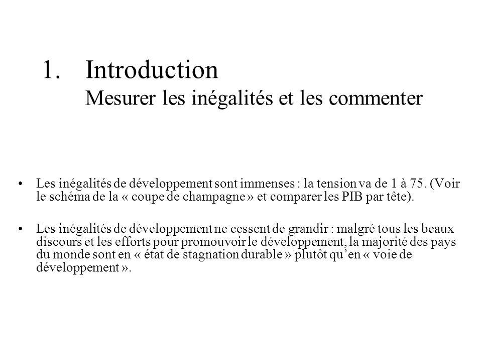 1.Introduction Mesurer les inégalités et les commenter Les inégalités de développement sont immenses : la tension va de 1 à 75.