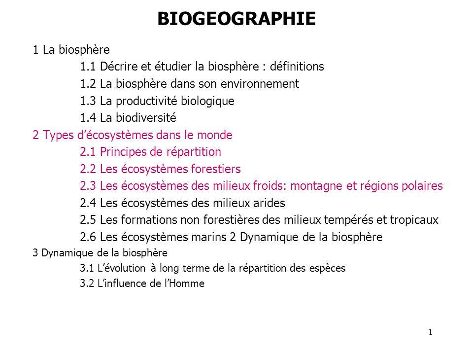BIOGEOGRAPHIE 1 La biosphère 1.1 Décrire et étudier la biosphère : définitions 1.2 La biosphère dans son environnement 1.3 La productivité biologique
