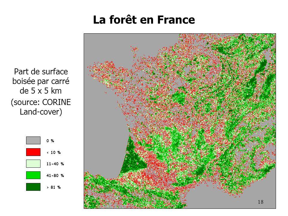 La forêt en France Part de surface boisée par carré de 5 x 5 km (source: CORINE Land-cover) 0 % < 10 % 11-40 % 41-80 % > 81 % 18