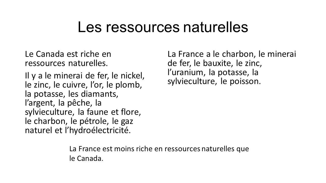 Les ressources naturelles Le Canada est riche en ressources naturelles. Il y a le minerai de fer, le nickel, le zinc, le cuivre, lor, le plomb, la pot