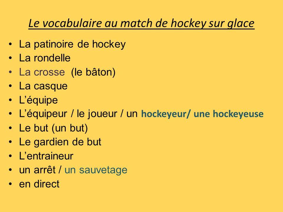 Le vocabulaire au match de hockey sur glace La patinoire de hockey La rondelle La crosse (le bâton) La casque Léquipe Léquipeur / le joueur / un hocke
