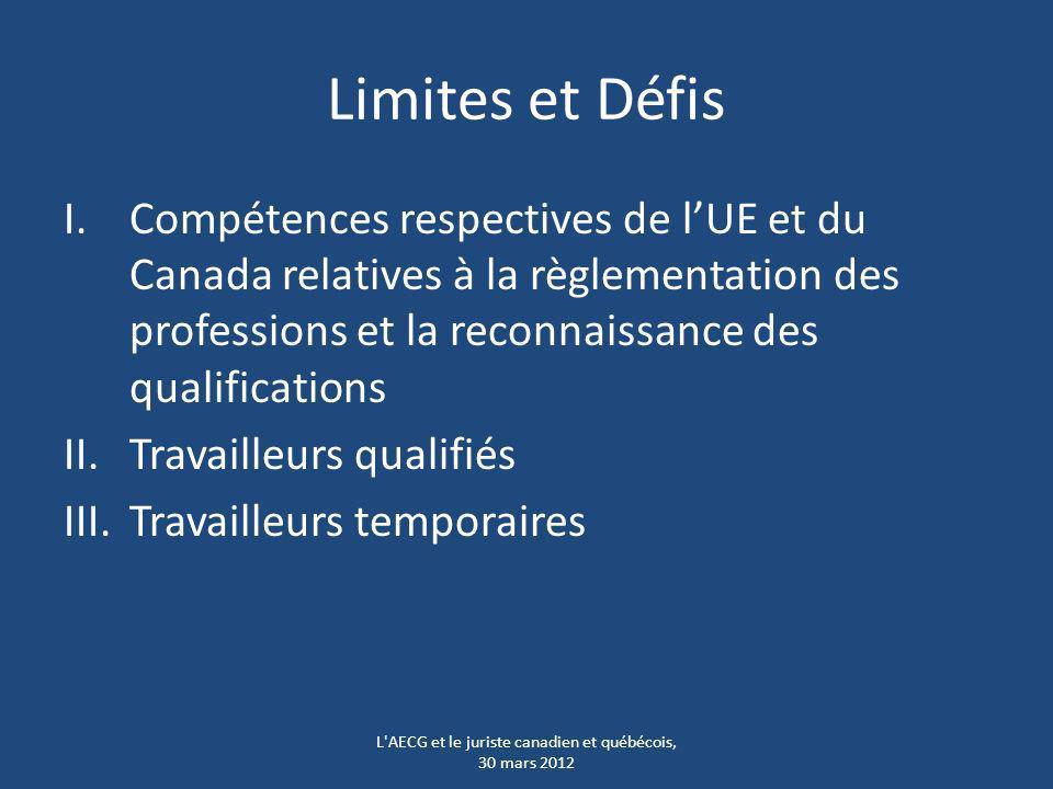 Limites et Défis I.Compétences respectives de lUE et du Canada relatives à la règlementation des professions et la reconnaissance des qualifications I