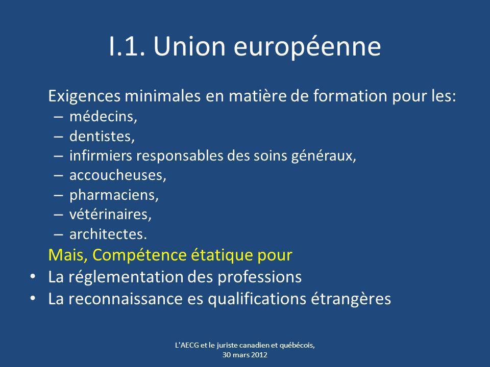 I.1. Union européenne Exigences minimales en matière de formation pour les: – médecins, – dentistes, – infirmiers responsables des soins généraux, – a