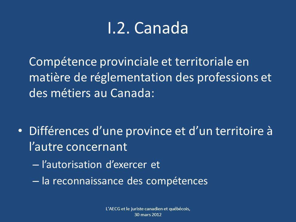I.2. Canada Compétence provinciale et territoriale en matière de réglementation des professions et des métiers au Canada: Différences dune province et