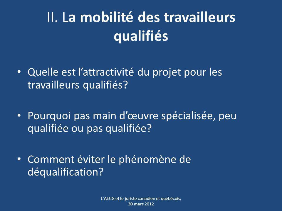 II. La mobilité des travailleurs qualifiés Quelle est lattractivité du projet pour les travailleurs qualifiés? Pourquoi pas main dœuvre spécialisée, p