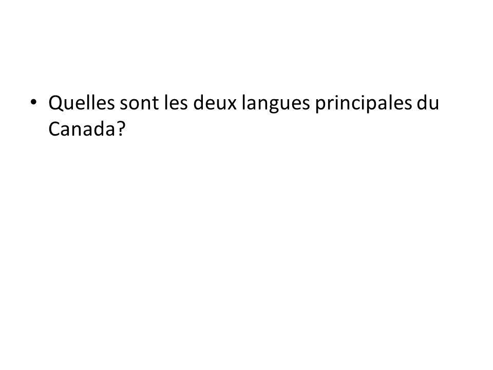 Quelles sont les deux langues principales du Canada?