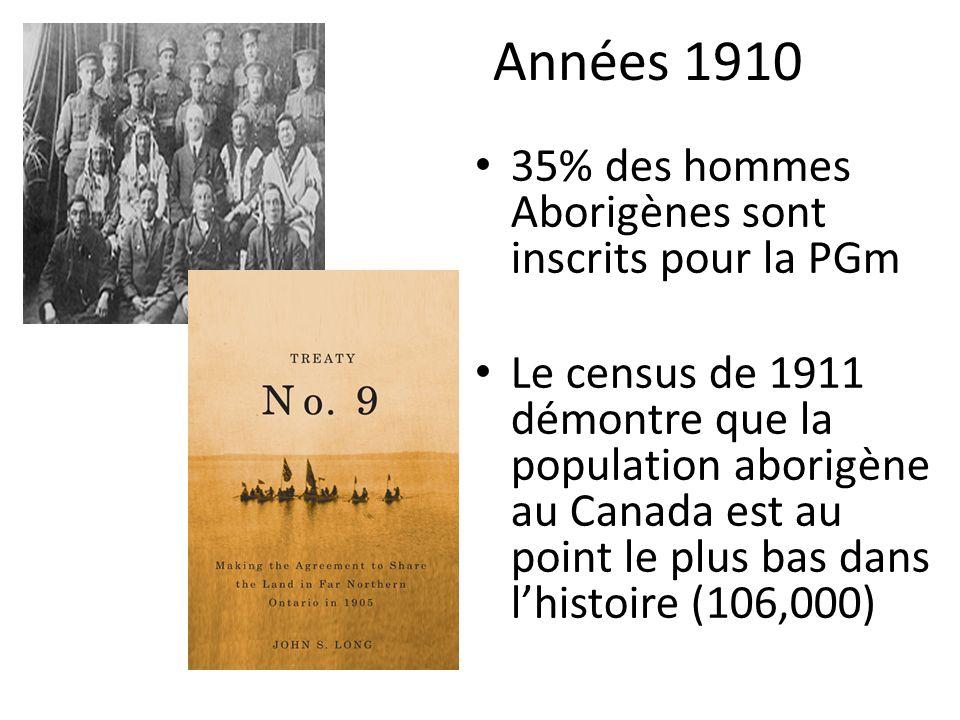 Années 1910 35% des hommes Aborigènes sont inscrits pour la PGm Le census de 1911 démontre que la population aborigène au Canada est au point le plus